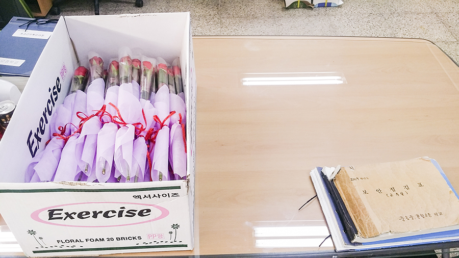Flowers from the teachers to the graduating students in Sangju, South Korea.