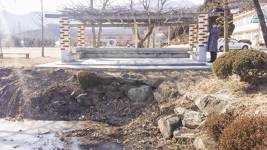 Pavilion by a pond in the school in the mountain, Sangju, South Korea.