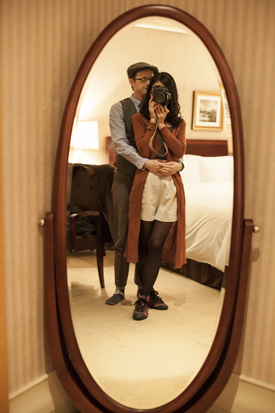 Mirror shot of Ren & Ottie at Lotte Hotel, Myeongdong, Korea