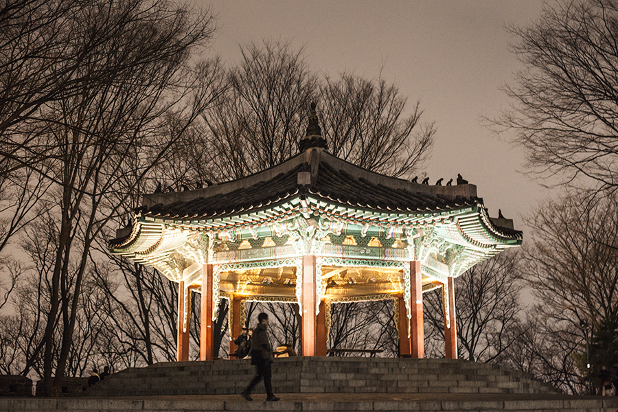 Lit pagoda by Namsan Tower, Seoul, South Korea.