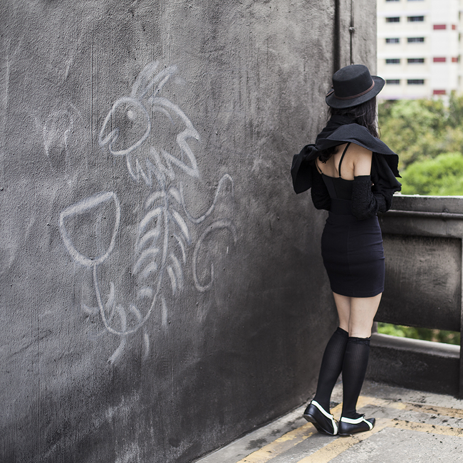 Vedette Shapewear Abella in black skirt bodysuit with bra, black skirt from Forever 21, black felt hat from Taobao, black cardigan from Moda at George, black jem elastic belt from Purpur, black lace socks from Takashimaya Department Store, gold ceramic necklace from Woodsworth, black and white cutout oxford flats from Something Borrowed via Zalora.