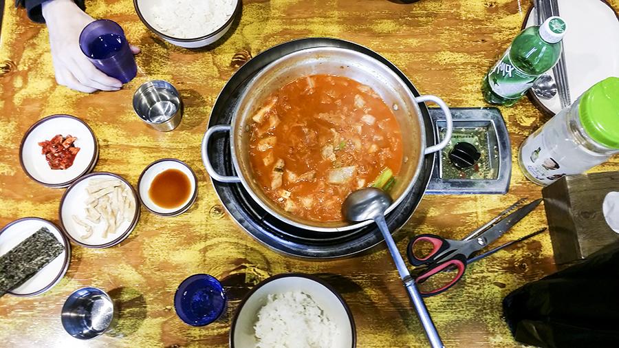 Kimchi-jigae in Myeongdong, Seoul, South Korea.