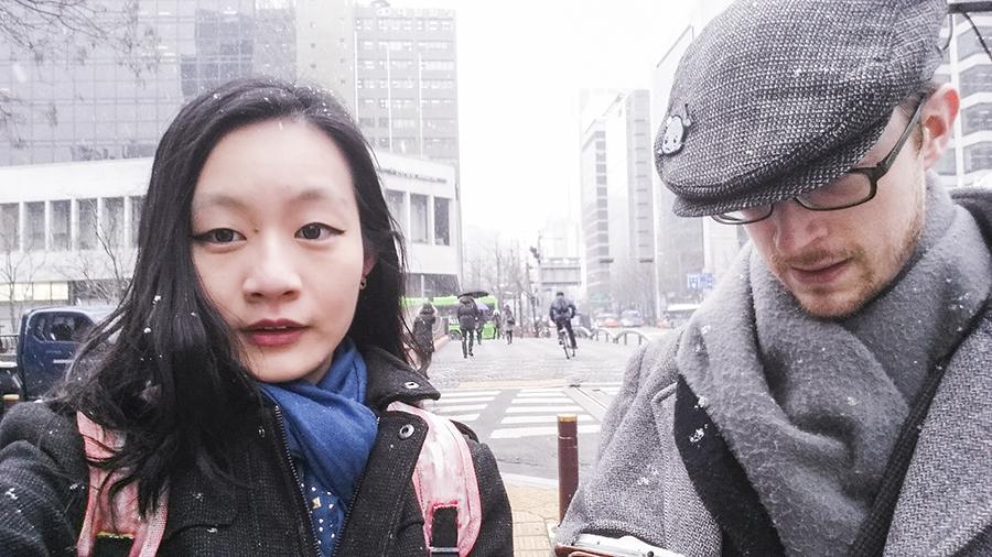 Ren and Ottie on a snowy morning in Seoul, South Korea.