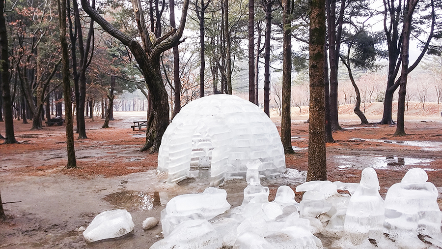 Melting ice igloo at Nami Island, Gapyeong, South Korea.