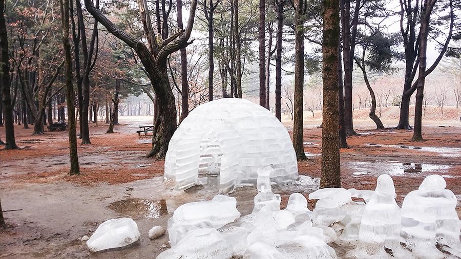 Melting ice igloo at Nami Island, Gapyeong, South Korea.