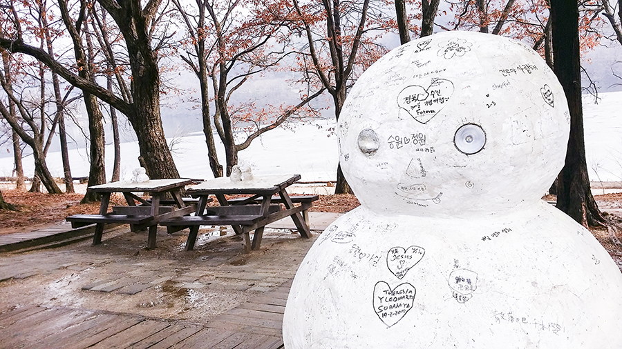 Snowman sculpture with love notes at Nami Island, Gapyeong, South Korea.