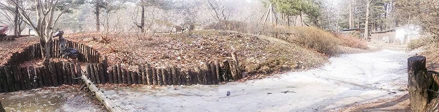 Panoramic photo of a half-frozen stream and insect sculptures at Nami Island, Gapyeong, South Korea.