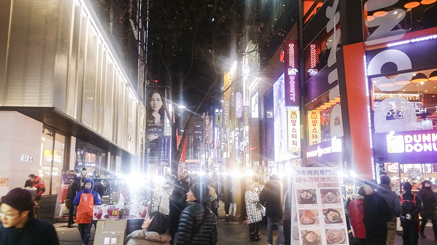 Shops along Myeongdong, Seoul, South Korea.