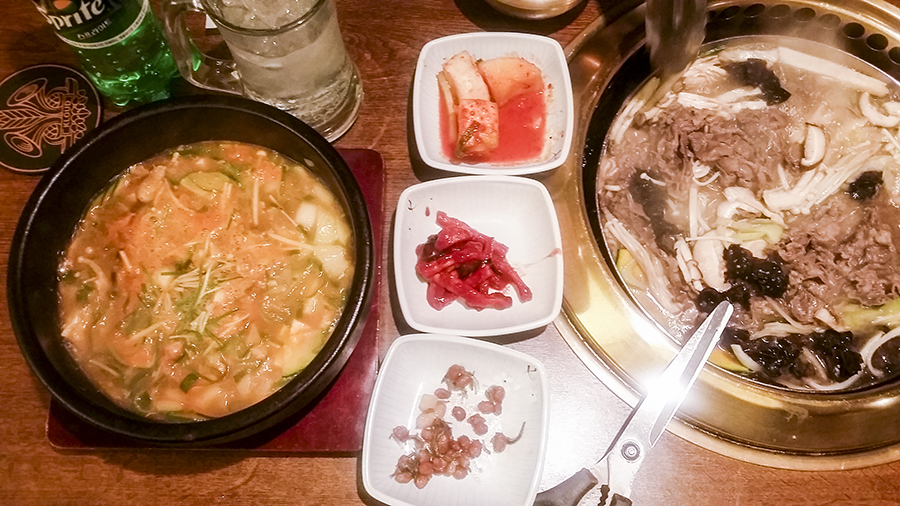 Dinner at Bulgogi Brothers in Myeongdong, Seoul, South Korea.