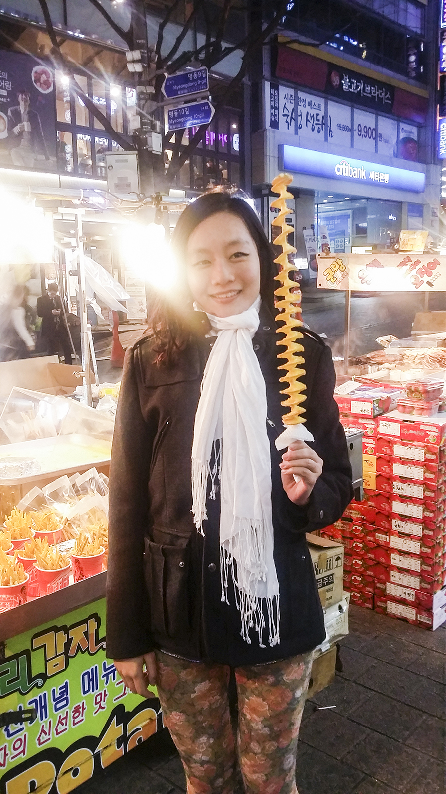 Me with a twistie potato stick in Myeongdong, Seoul, South Korea.