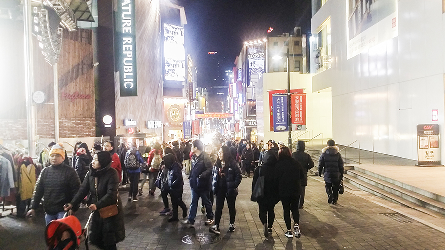 Shopping street in Myeongdong, Seoul, South Korea.