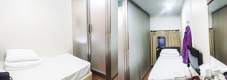 Panoramic view of our room in Hotel Bonbon in Myeongdong, Seoul, South Korea.