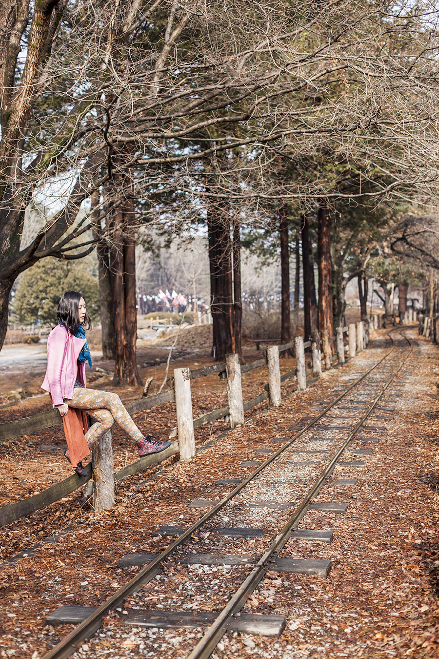Outfit at Nami Island: Uniqlo grey bratop camisole, Viparo pink lambskin leather jacket with gold zipper, Forever 21 silver party shorts and long rust cardigan, Urban Outfitters floral lace tights, H&M grey men's coat, Marshalls blue shawl with gold studs.