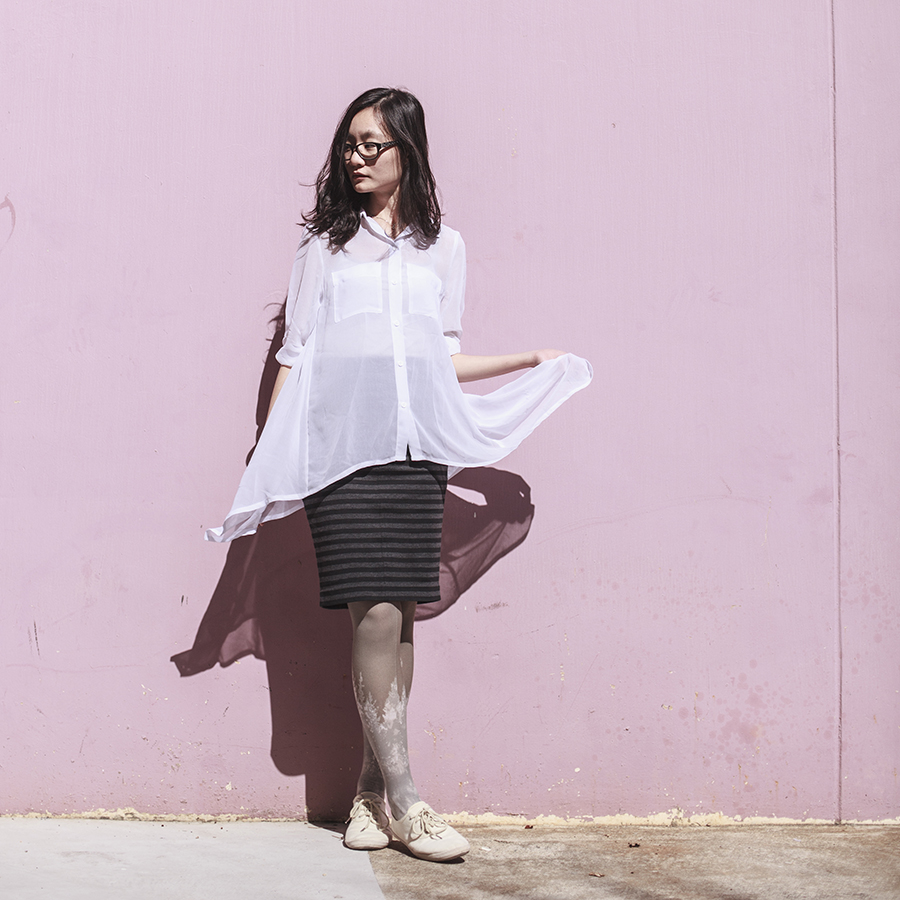 Outfit: M)phosis sheer white blouse, Uniqlo black striped skirt, Urban Outfitters landscape printed tights, Cotton On menswear lace-up flats,  Gap black rimmed glasses.