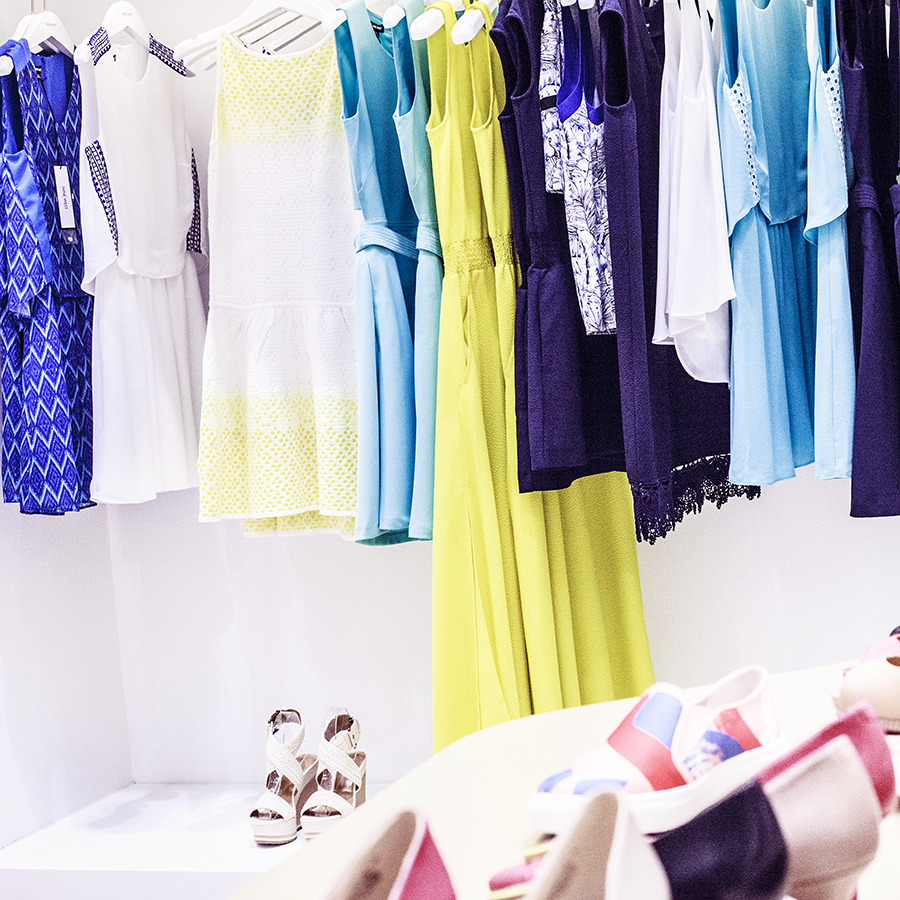Pastel yellow and blue clothes at the Nine West SS15 Collection launch preview at Suntec, Singapore.