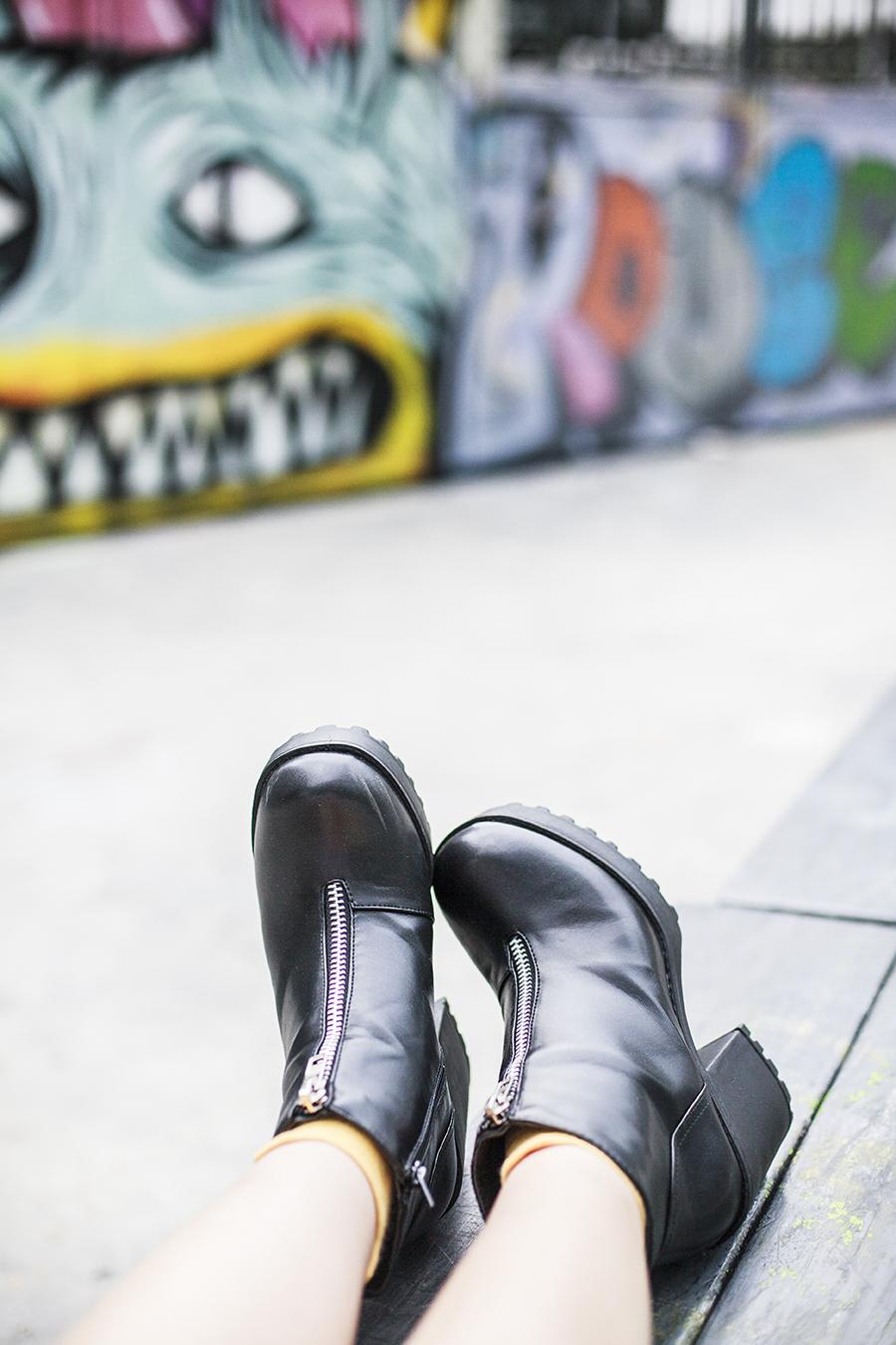 Rubi black platform heeled boots via Zalora