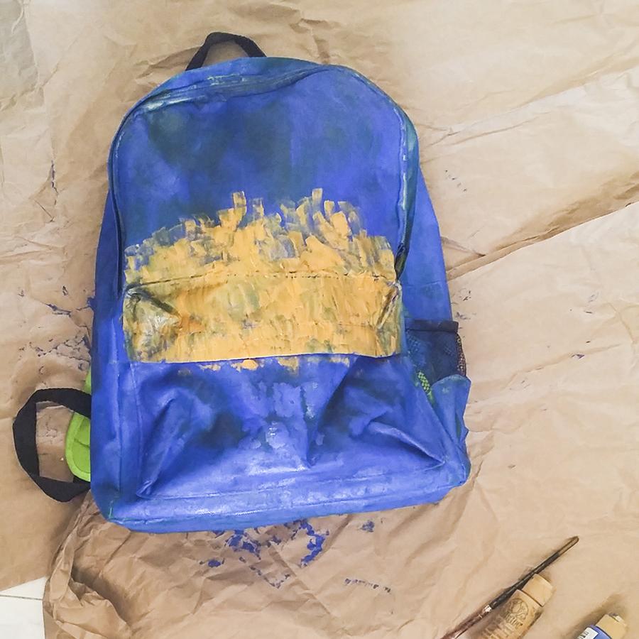 DIY blue paint on NDP 2014 green & orange fun pack