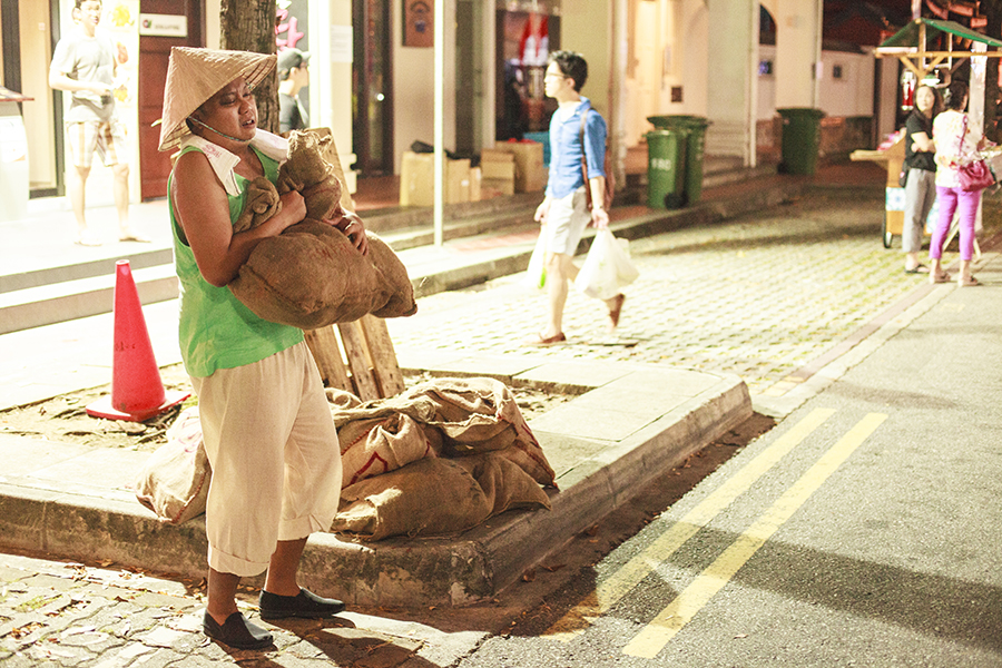 Olden day costume for the festivities at Telok Ayer street, Singapore.