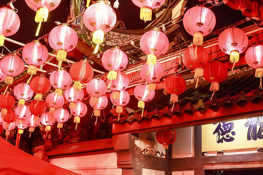 Array of festive red lanterns on Telok Ayer street, Singapore.