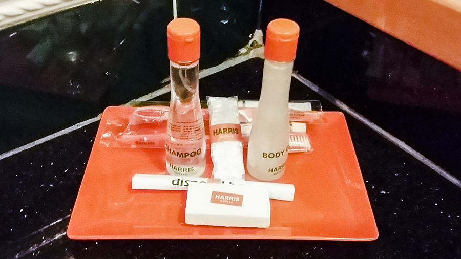 Complimentary toiletries at Harris Waterfront Resort, Batam, Indonesia.