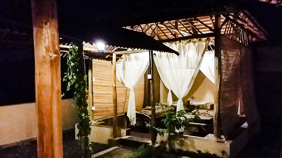 Rooftop massage beds at H'Spa (managed by Tiara Mustika Spa) at Harris Waterfront Resort, Batam, Indonesia.