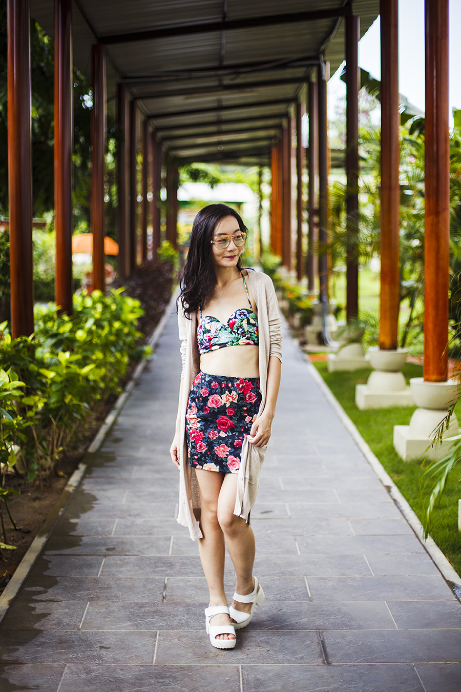 Floral two piece poolside outfit:  Motel Rocks floral bikini top, Forever 21 floral banded skirt, Guess iridescent sunglasses, Taobao white platform sandals, Zara long v-neck cardigan, Osewaya mermaid earrings via JRunway.