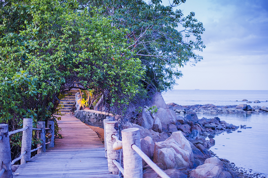 Stairs along the jetty at Turi Beach Resort, Batam, Indonesia.