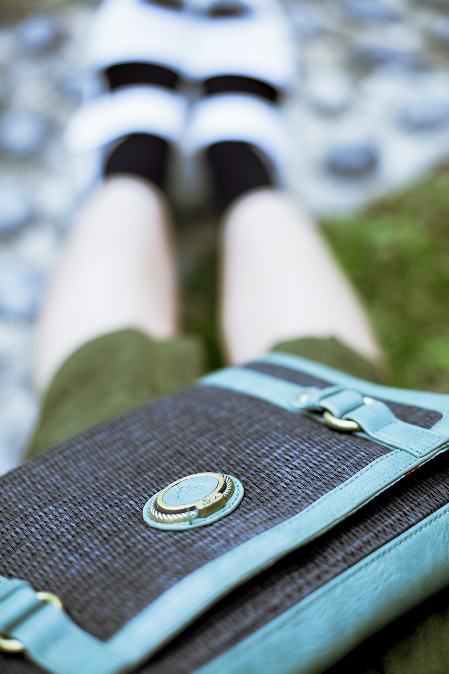 Green outfit: Nica green clutch.