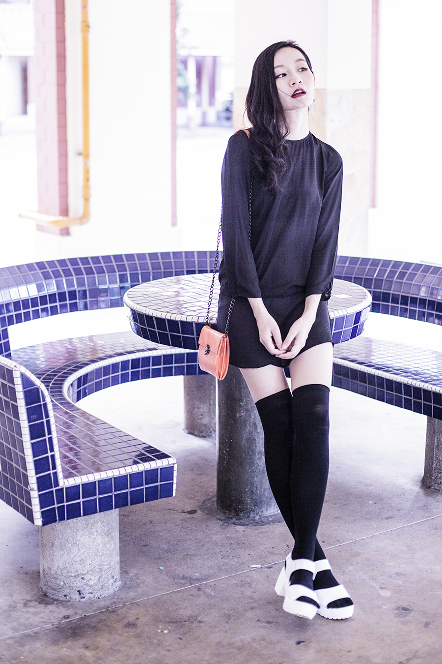 We Love Colors black thigh high stockings, H&M black open back chiffon tunic dress, Taobao white platform sandals, Steve Madden orange shoulder bag, silver hoop earrings.