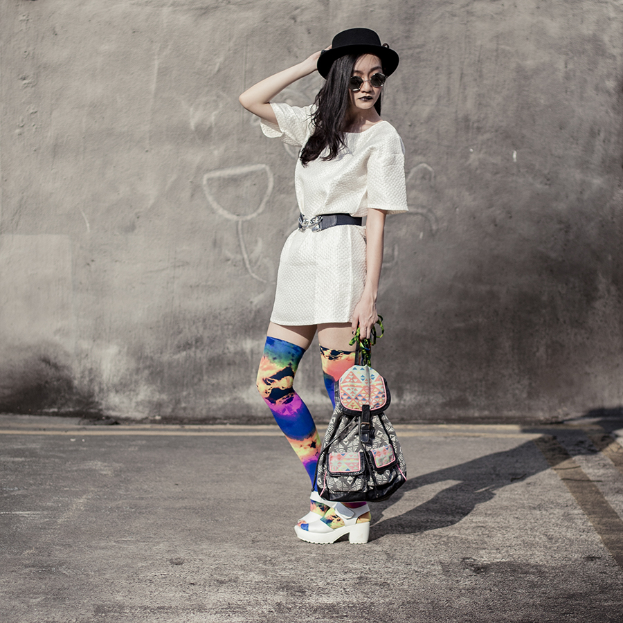Outfit details: Zalora cream shift dress, Taobao silver round sunglasses, Accessorize navy blue swallow belt, We Love Colors Splash Color Thigh Highs, Taobao white platform sandals, Taobao black felt hat, We Love Colors splash color round and flat shoe laces.