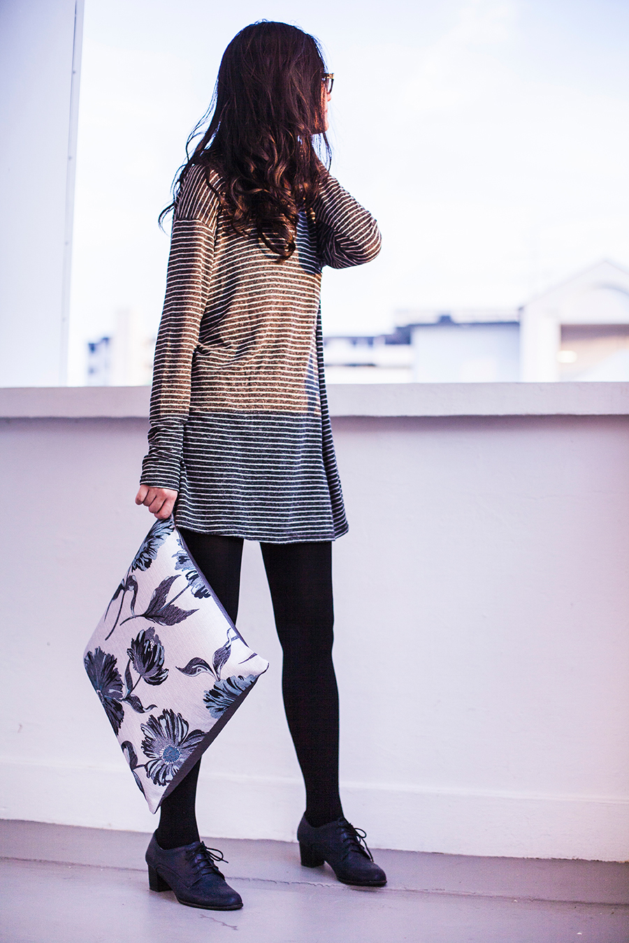 Outfit details: Zara striped tunic dress, Forever 21 black tights, Taobao navy blue oxford heels, Gap black rimmed glasses.