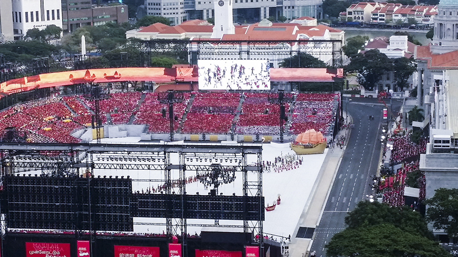 Nostalgia theme at the National Day Parade 2015 dress rehearsal at the Padang.