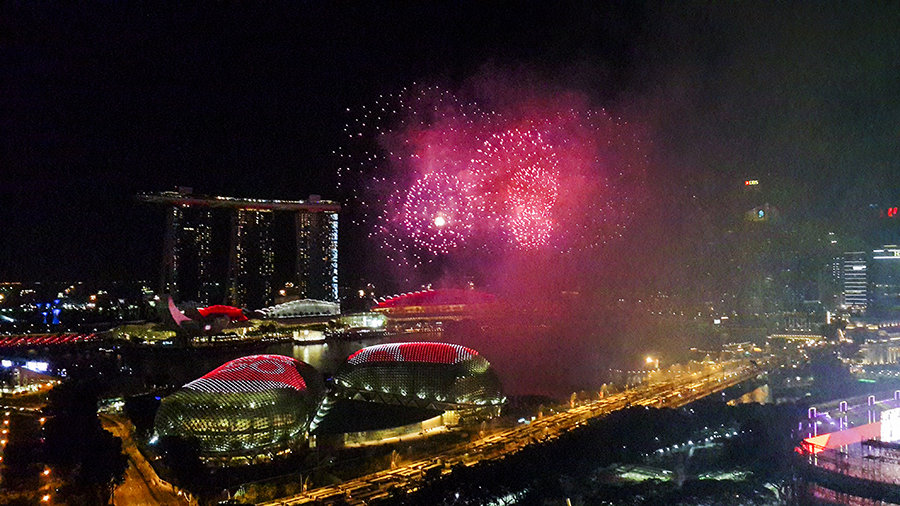 Fireworks by the Esplanade domes at the National Day Parade 2015 dress rehearsal.