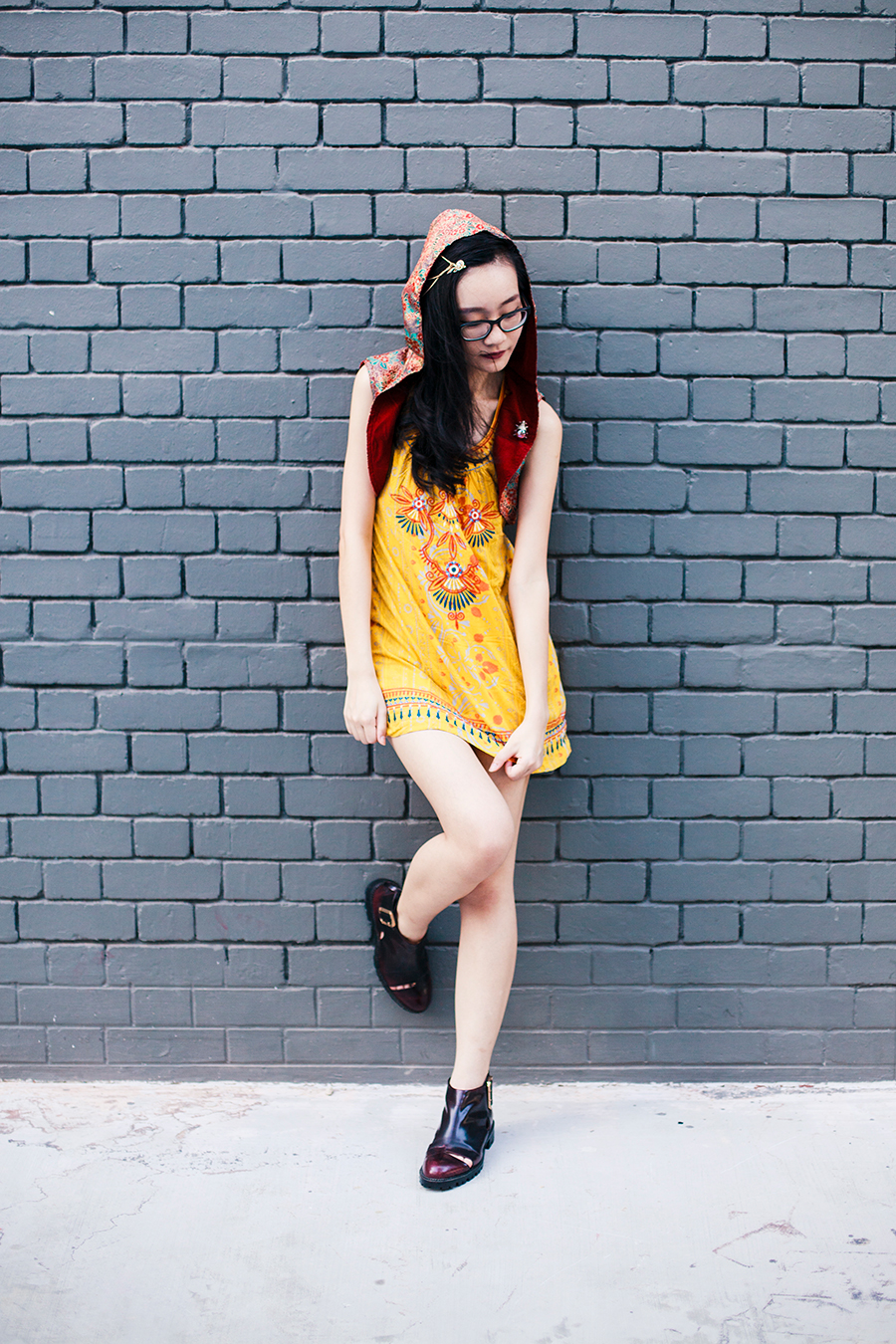 Born of Fire outfit: Irresistible Me Sophia Hair Chain, Forever 21 yellow embroidered tunic dress, Jeffrey Campbell cutout wine booties.