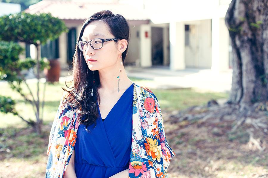 Moon Flowers outfit: DressLink floral kimono cardigan, Passport Love blue v-neck dress, Gap black frame glasses, handmade cutlery earrings.