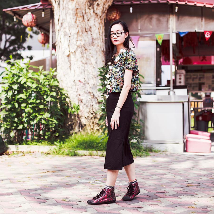 A Dark Summer outfit: DressLink v-neck strap slide slit dress, Love Sadie floral crop top, via Shopbop, Sammy Icon geometric socks, Alexander McQueen x Puma high top red sneakers, DressLink floral LED lights, Gap black frame glasses.