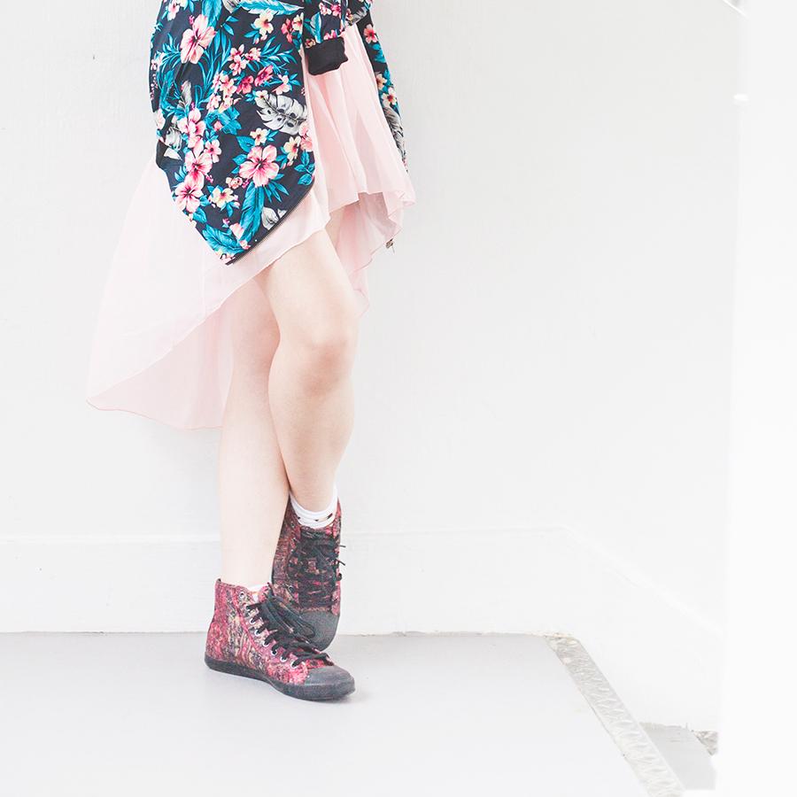 Wedding night outfit: high low pink skirt from Korea, Newdress blue floral jacket, Osewaya mermaid earring, Alexander McQueen x Puma high top sneakers.