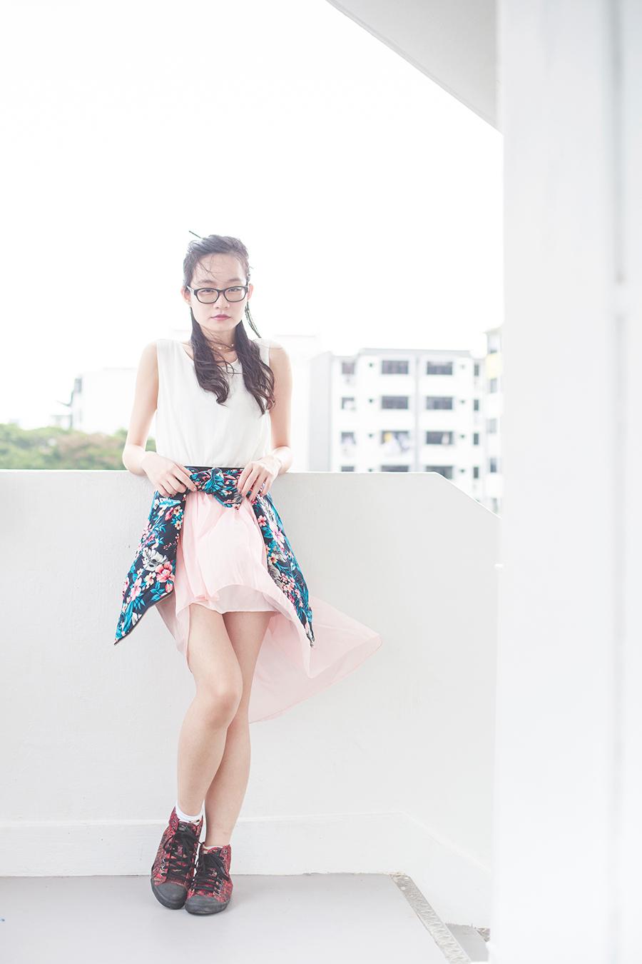 Wedding night outfit: Dresslink chiffon backless top, high low pink skirt from Korea, Newdress blue floral jacket, Osewaya mermaid earring, Alexander McQueen x Puma high top sneakers.