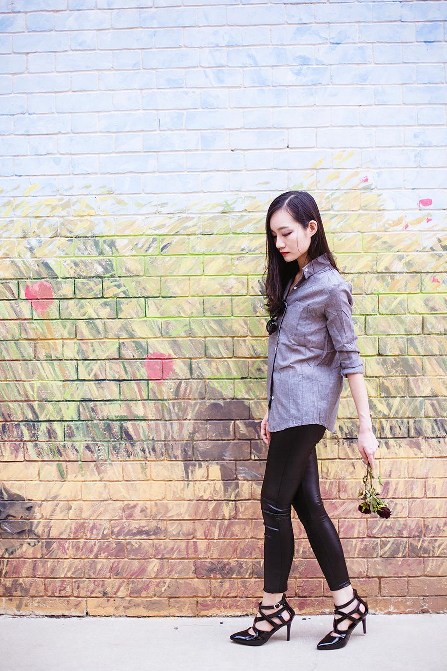 Dressgal grey linen shirt, Dressgal PU leggings, Sidewalk strappy heels via Zalora, 24:01 black round sunglasses via Zalora.