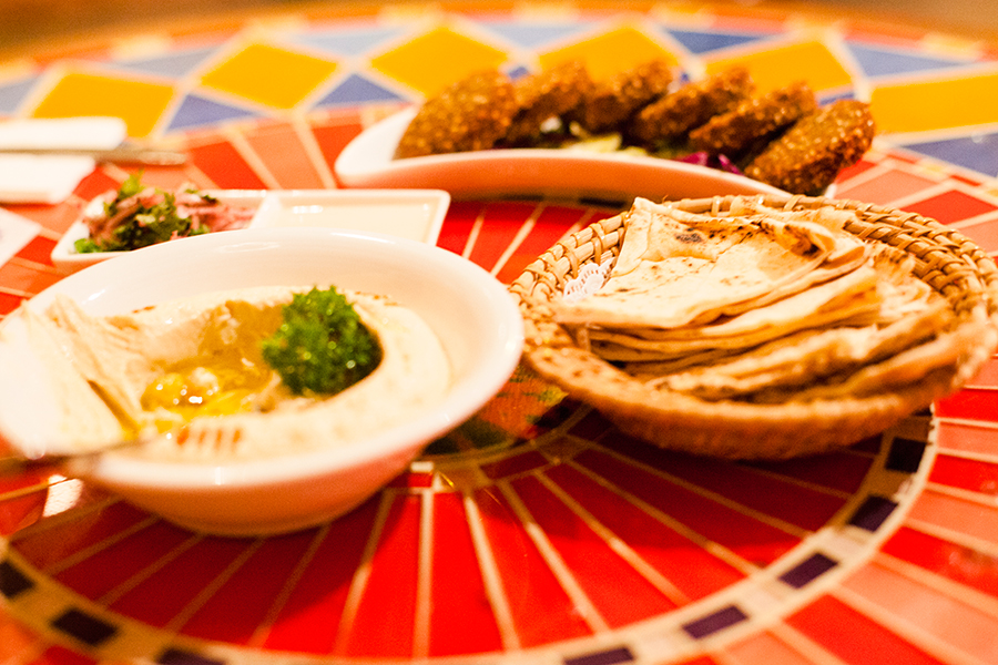 Hummus, Pita Bread, Falafel for dinner at Kazbar.