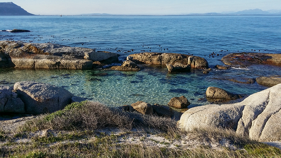 Beautiful waters at Boulders Beach, Table Mountain National Park, Cape Town, South Africa.