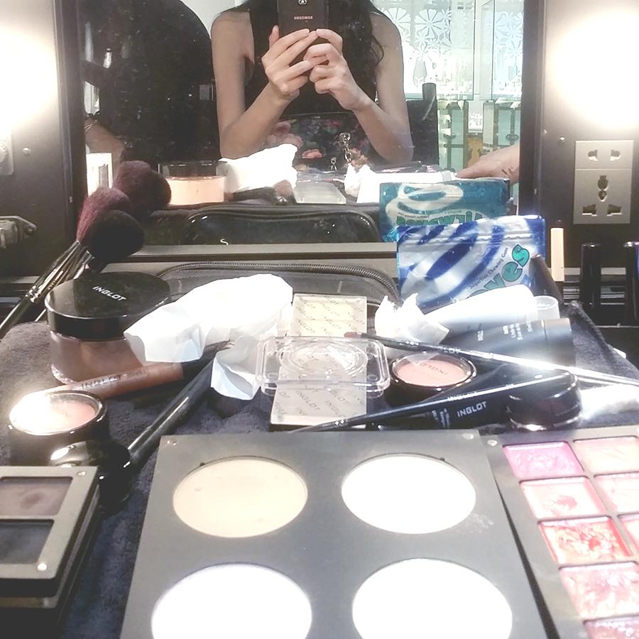 Inglot x Zalora makeover table.