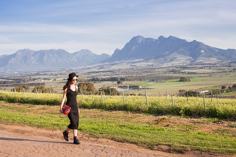 Outfit at Fairview Wine and Cheese, South Africa: Newdress black side slit dress, Dressin silver mirror sunglasses, Dressgal red satchel handbag, Stance warrior crew socks via Shopbop, Zalora PU black high top sneakers, Taobao black hat.