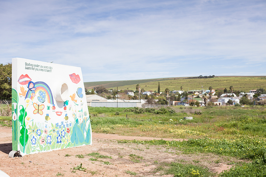 Colourful mural wall structure at Darling, South Africa.