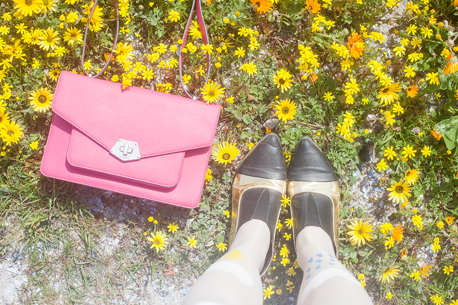 From where I stand among wildflowers at Yzerfontein, South Africa: Nine West pink satchel handbag, Something Borrowed black & gold pointed flats via Zalora.
