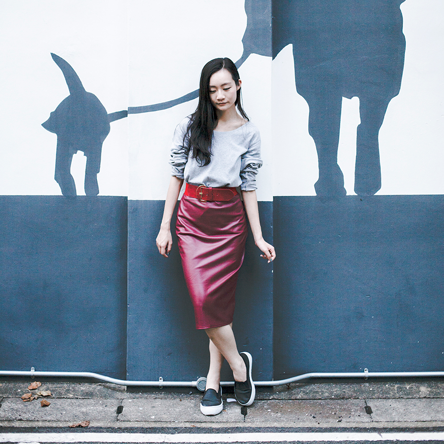 Red leather skirt ootd.