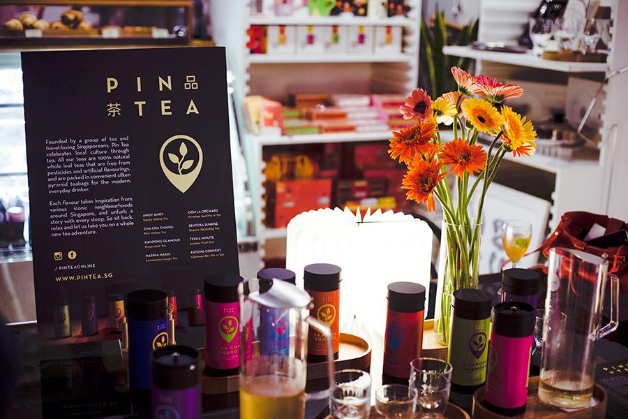 Selection of Pin Tea 品茶 at Kapok x Olivia Burton launch at National Design Centre, Singapore.