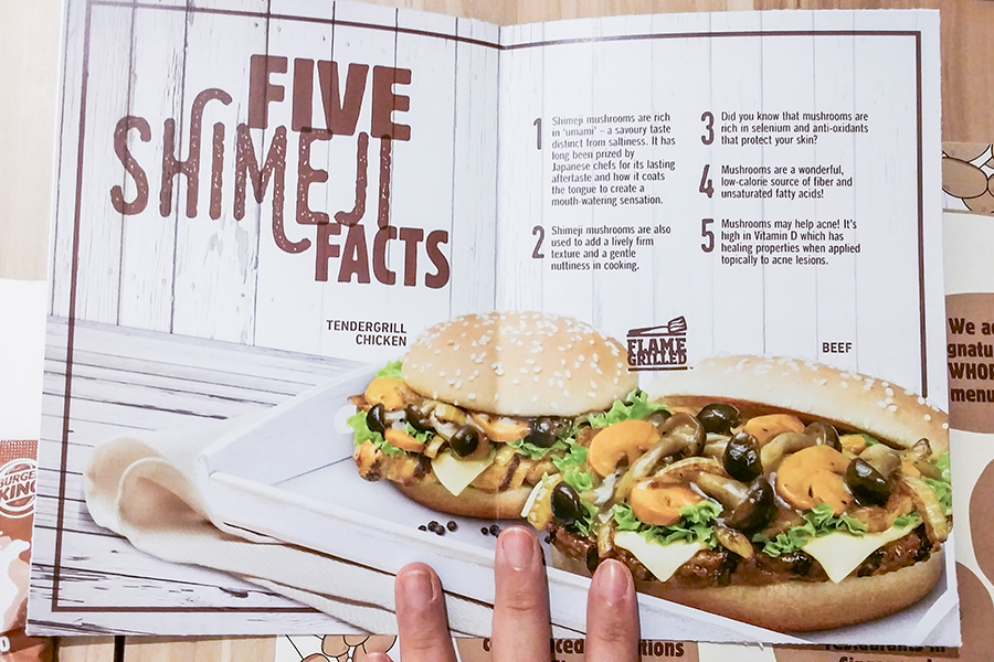 Media preview feast at Burger King Singapore: Shimeji mushroom fun facts.
