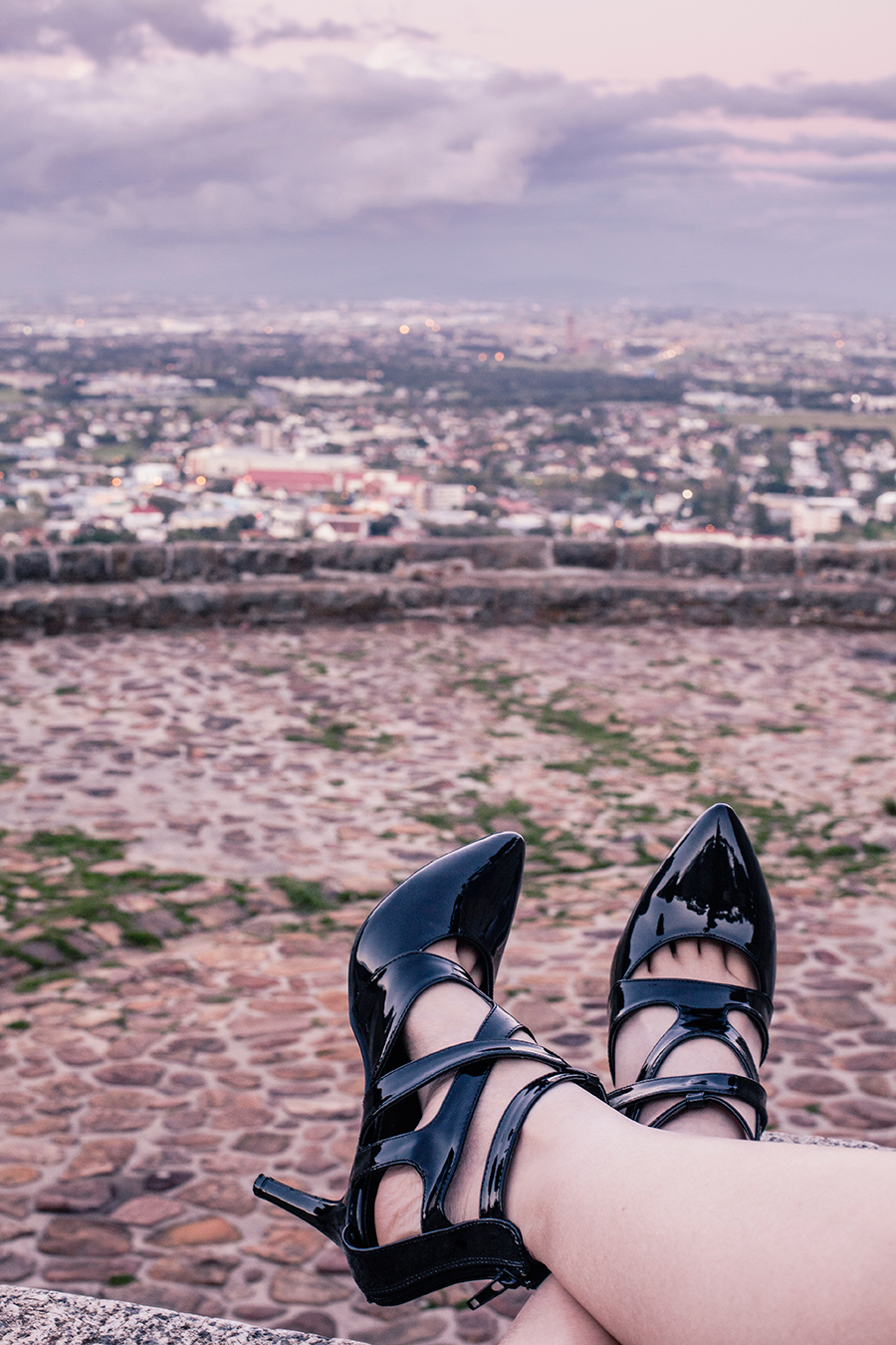 From where I sit featuring Sidewalk strappy heels overlooking Cape Town.