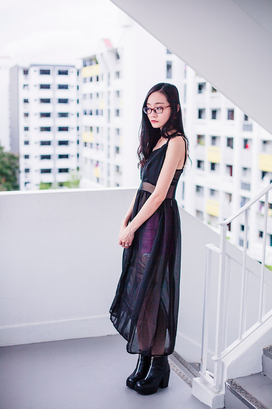 CNDirect sheer overlay dress, Forever 21 orchid pink denim shorts, Rubi platform boots, Topshop lace choker, Firmoo red glasses.